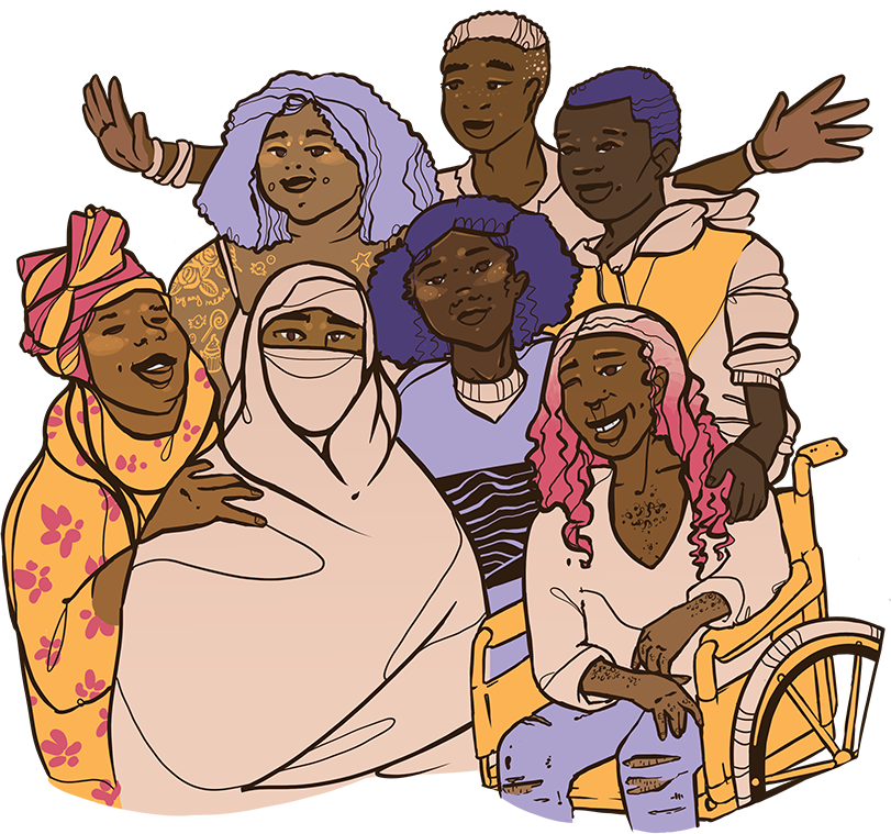 Illustration of a diverse group of smiling black people